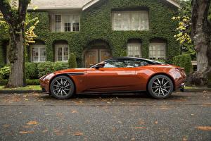 Картинки Aston Martin Оранжевый Металлик Сбоку 2017 DB11 Машины