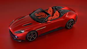 Фотография Астон мартин Красный Кабриолет Красный фон 2018 Vanquish Zagato Speedster