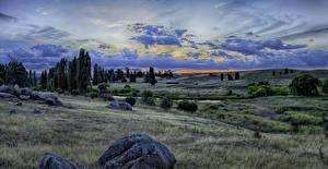Фотография Австралия Пейзаж Парки Камни Вечер HDRI Трава Облака Snowy River National Park Природа