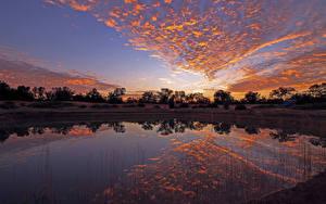 Фотографии Австралия Рассветы и закаты Озеро Небо Gluepot Природа