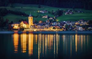 Картинка Австрия Дома Озеро Вечер St. Wolfgang Города