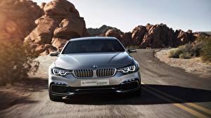 Обои BMW Спереди Движение Купе Серебристый 4 Series Concept Автомобили