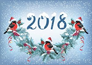 Обои Птицы Снегирь Новый год 2018 Снежинки
