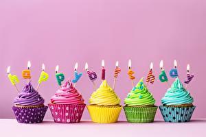 Фотография День рождения Капкейк кекс Свечи Пища
