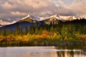 Картинки Канада Парки Горы Леса Осень Озеро Банф Природа