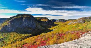 Фотография Канада Утес Холмы Трава Quebec Природа