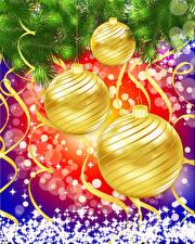 Фотография Рождество Ветки Шарики