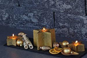 Картинка Рождество Свечи Шарики Золотой