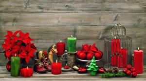 Картинка Рождество Свечи Шар Шишки Ботинки