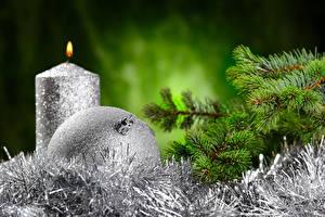 Картинки Рождество Свечи Ветки Шарики