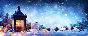 Обои Рождество Свечи Фонарь Шишки Шар