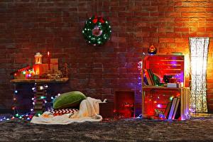Фотографии Рождество Свечи Стена Книга Гирлянда Подушки