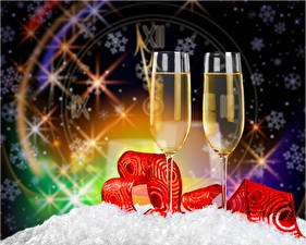 Фото Рождество Шампанское Ленточка Бокалы 2