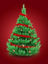 Картинка Рождество Елка Шарики Красный фон 3D Графика