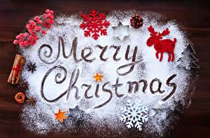 Картинка Новый год Корица Олени Бадьян звезда аниса Ягоды Сахарная пудра Доски Английский Снежинки