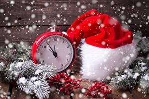 Фотография Рождество Часы Шапки Снежинки