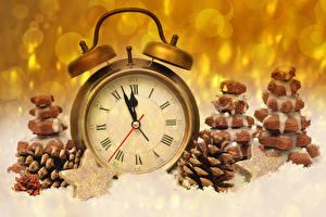 Фотографии Новый год Печенье Часы Будильник Шишки Звездочки