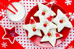 Обои Рождество Печенье Коктейль Тарелке Дизайна Снежинка Звездочки Стакан Еда