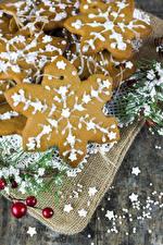 Фотографии Рождество Печенье Снежинки Пища