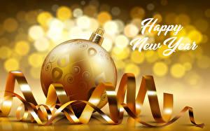 Обои Новый год Английский Шар Золотой Лента