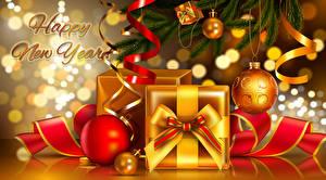 Картинка Рождество Английский Подарки Шар Бантик