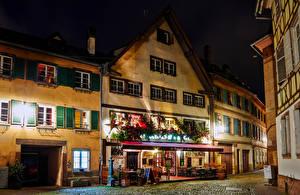 Фото Новый год Франция Страсбург Дома Улица Ночь Кафе