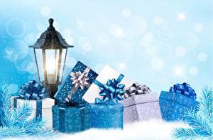 Фотографии Рождество Подарки Фонарь