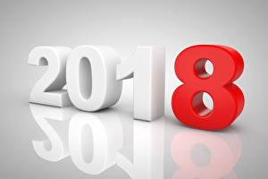 Картинка Новый год Серый фон 2018 3D Графика