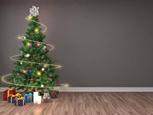 Фото Рождество Праздники Свечи Стенка Новогодняя ёлка Подарки Электрическая гирлянда 3D Графика