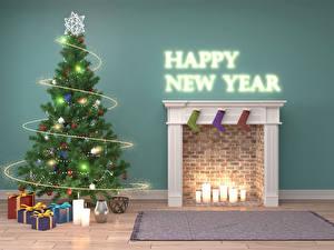 Обои Новый год Праздники Интерьер Свечи Английский Дизайн Елка Подарки Гирлянда Камин 3D Графика