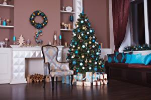 Картинки Рождество Праздники Интерьер Елка Стулья Дизайн Шарики