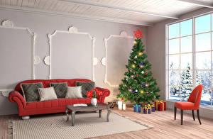 Картинка Новый год Праздники Интерьер Дизайн Елка Подарки Диван Подушки Стулья 3D Графика