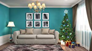 Фото Рождество Праздники Интерьер Дизайн Новогодняя ёлка Подарки Диван Люстра Лампа 3D Графика