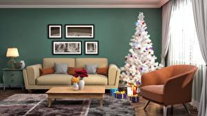 Картинки Рождество Праздники Интерьер Дизайн Новогодняя ёлка Диван Подарки Кресло 3D Графика
