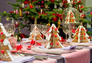 Фотография Новый год Праздники Сервировка Выпечка Бокалы Новогодняя ёлка Пища