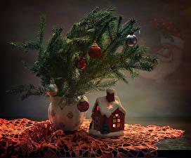 Обои Рождество Здания Ветвь Шар