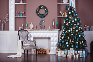 Фото Рождество Интерьер Новогодняя ёлка Подарки Стулья Шар