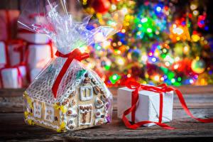 Обои Новый год Выпечка Здания Подарки Еда