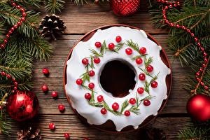 Фотография Новый год Выпечка Сахарная глазурь Доски Дизайн Шишки Шарики