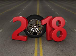 Картинка Новый год Дороги 2018 Колеса 3D Графика
