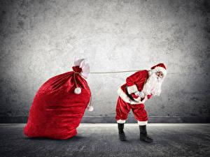 Фотография Новый год Санта-Клаус Униформа Борода Подарки