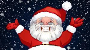 Фотография Новый год Дед Мороз Шапки Счастливые Очки