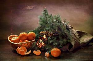 Обои Новый год Натюрморт Мандарины Ветки Колокольчики Продукты питания