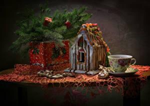 Фото Новый год Натюрморт Выпечка Дома Печенье На ветке Чашке Пища