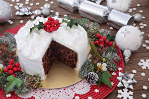 Картинка Рождество Сладости Торты Ветка Шарики Шишки Дизайна Еда