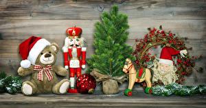 Обои Рождество Мишки Лошади Доски Дед Мороз Шар Шапки