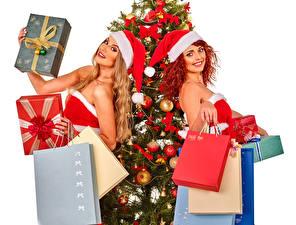 Фотография Рождество 2 Шапки Улыбка Рыжая Блондинка