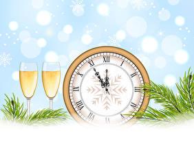 Картинки Рождество Векторная графика Часы Шампанское Бокалы Вдвоем Ветки Пища