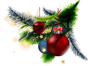 Обои Рождество Белый фон Ветвь Шар Бантик