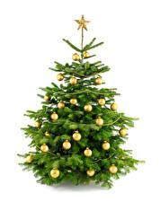 Фото Рождество Белый фон Новогодняя ёлка Шар Звездочки